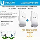 Ubiquiti LocoM5 X 2 Units Bridge Kit Complete Pre-Configured Nanostation Loco M5 by Ubiquiti Networks