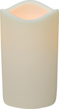 Ivory Wax Look Flickering LED Timer Pillar Candle Country Primitive Lighting Décor by BCD (Image #1)
