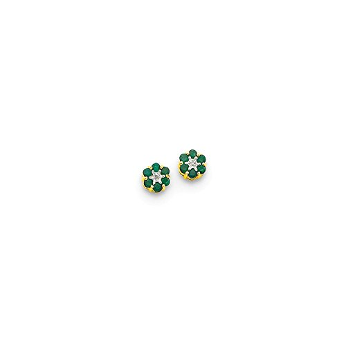 Top 10 Jewelry Gift 14k & Rhodium Emerald & Diamond Post Earrings