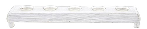 Sullivans 22″ White Driftwood Votive Candle Holder with 5 Glass Inserts