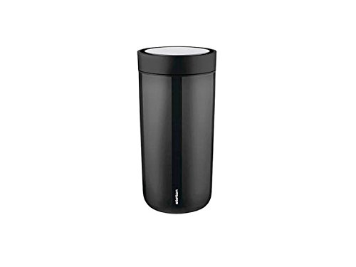 Stelton To Go Click, Thermal Cup, Vacuum Mug, One-Handed Clasp, Stainless Steel, Plastic, Black, 340 ml, 580-1
