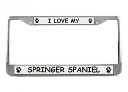 (Springer Spaniel License Plate Frame (Chrome) 5 Year Warranty)