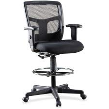 Lorell LLR86801 Ratchet Mesh Mid-Back Stool Chair 2.6