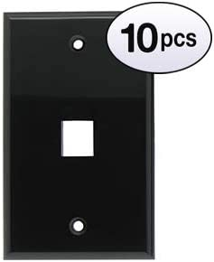 10 Pack GOWOS 1Port Keystone Wallplate Black Smooth Face