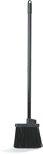 Broom Stiff Black (Carlisle 3686003 Flo-Pac Duo Sweep Lobby Broom With Metal Threaded Handle, 36