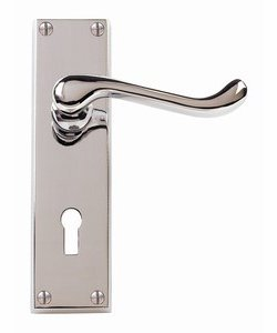 VICTORIAN SCROLL LEVER LOCK DOOR HANDLE POLISHED CHROME by Carlisle Brass