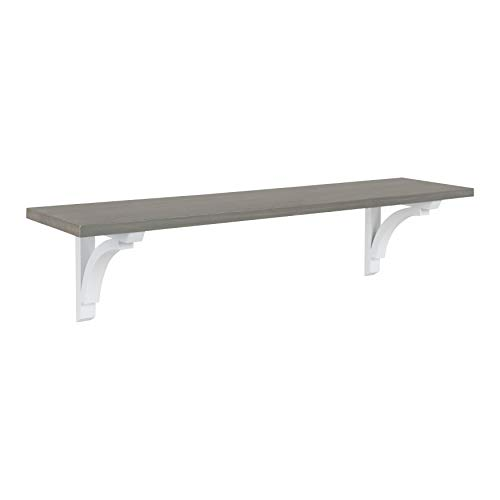 - Kate and Laurel Corblynd Traditional Wood Wall Shelf, 36 inches, Gray with White Corbels