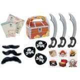 150 piece plus Pirate Party Favor Pack Toy bundle (Inflatable Swords, Tattoos, Mustaches, Eye Patches, Treasure chest Favor boxes, Maps) - Pirate Themed Party Supplies
