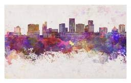 Ambesonne Minnesota Doormat, Panoramic View St Paul City Architecture with Abstract Smudged Aquarelle Effect, Decorative Polyester Floor Mat with Non-Skid Backing, 30 W X 18 L Inches, -