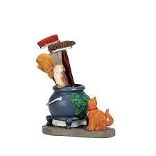 Lemax Spooky Town Cauldron Broom Holder #74220