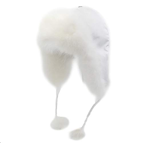 Yosang Fox Fur Russian Trooper Style Hat Adult Winter Ushanka Snow Hat White Fur & White Exterior