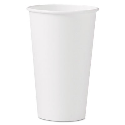 Solo Cup 316W-2050 Polycoated Hot Paper Cups 16oz, White, 1000/Case - Hot Cup 1000 Lids
