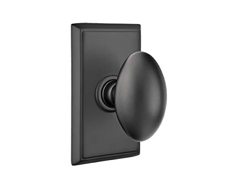 Emtek Privacy Set, Rectangular Rosette, Egg Knob, Flat Black ()