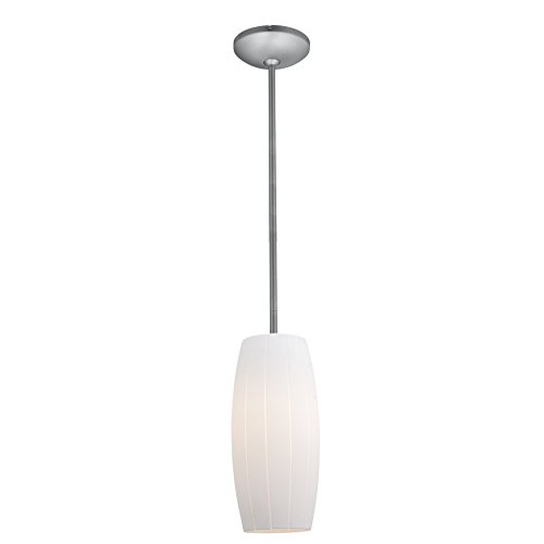 Access Lighting 28070-3R-BS/WHT Cognac LED Rod Pendant with White Glass Shade, Brushed Steel