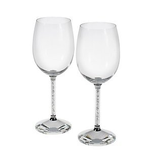 Oleg Cassini Crystal Diamond Wine Glasses -Set of 2