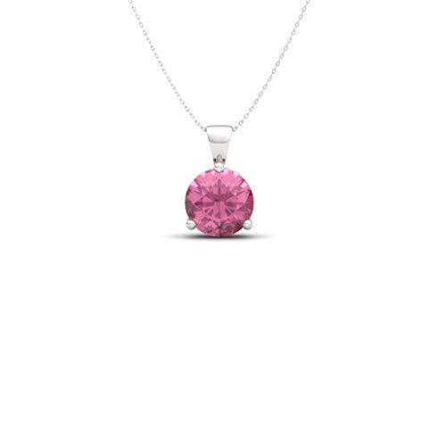 (Diamondere Natural and Certified Pink Tourmaline Three Prong Solitaire Petite Necklace in 14k White Gold | 0.38 Carat Pendant with Chain)