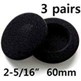 edelectronic electronics 60mm A 3 Pairs 60 mm Headphone Earphone Earbud Ear Pad Foam Cover