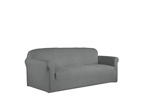 Serta 1 Piece Reversible Stretch Suede Box Sofa Slipcover, Steel Gray Herringbone/Gray Solid