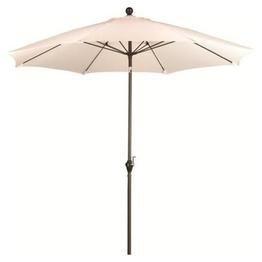 California Umbrella 9' Round Aluminum Pole Fiberglass Rib Umbrella, Crank Open, Push Button 3-Way Tilt, Bronze Pole, Natural
