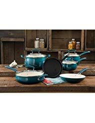 The Pioneer Woman Classic Belly 10 Piece Ceramic Non-stick and Cast Iron Cookware Set, Ocean Teal