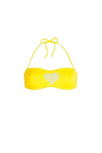 Bikini Fascia imbottita a Tinta unia Con Cuore in Strass di varie dimensioni.Imbottitura rimovibile, Slip Con fiocchi.