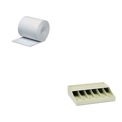 KITMMF210470089PMC05215 - Value Kit - Pm Company Single-Ply Thermal Cash Register/POS Rolls (PMC05215) and MMF Bill Strap Rack (MMF210470089)