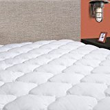 """Masivs Twin Mattress Pad Cover 8-21""""Deep Pocket - Overfilled Mattress Topper Cotton Top Pillow Top with Snow..."""
