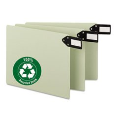 * Green End Tab Guides, Blank, Horizontal Metal Tabs, Pressboard, Letter