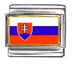 Slovakia Flag Italian Charm Bracelet Link