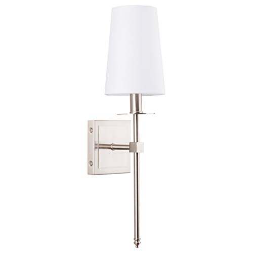 Torcia Wall Sconce 1-Light Fixture with Fabric Shade - Brushed Nickel - Linea di Liara LL-SC425-BN (Bathroom Sconce Wall)