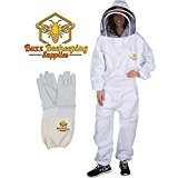 Professional Beekeeping Suit and Goatskin Gloves (1 Pair) Self-Supporting Fencing Veil and Heavy Duty YKK Metal Zippers for Bee Keepers Easily Take On and Off (X-Large)