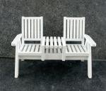 Town Square Miniatures Dolls House Miniature Garden Furniture White Wood Lawn Loveseat Twin Chair (Interest Furniture Garden)