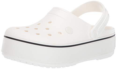 Crocs Girls' Crocband Platform Clog White, 12 M US Little Kid
