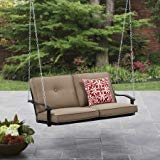 Mainstays Belden Park Outdoor Porch Swing - Tan Seaside Sand Cushions ()