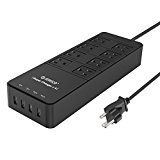 ORICO 8 Outlet Power Strip with Surge Protector, Built-in 5 Ft. Cord, 4 USB Intelligence Charging Ports (2×5V2.4A+2×5V1A) for iPhone, iPad, Samsung Galaxy S6 / S6 Edge, Nexus, HTC M9, Motorola, LG and More - Black (TPC-8A4U)