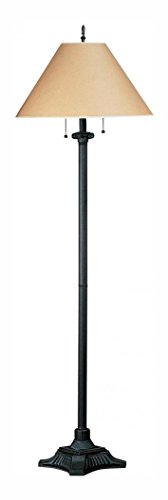 Craftsman / Mission Metal Floor Lamp with On/Off Switch and Round Kraft Paper Shade from the Mission Collection (Cal Lighting Mission Floor Lamp)