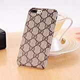 NCANGU New Elegant Luxury PU Leather Classic Style Cover Case Cover Case for iPhone case (Color : Brown) (iPhone 7 Plus / 8 Plus) ()