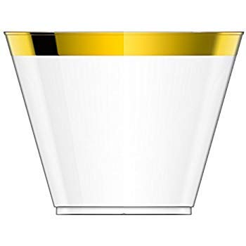 (GOLD Line Plastic Cups 9 Oz 100 Old Fashioned Gold Rimmed Cups wedding supplies plastic Gold Rim Elegant Party Cups Fancy Wedding Birthdays Tumblers)