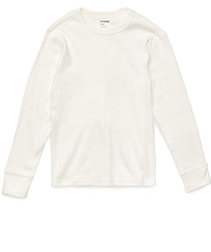 Leveret Long Sleeve Solid T-Shirt 100% Cotton (12 Years, Off White)