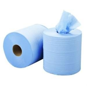 6 x Blue Centre Feed Rolls 2 Ply Centrefeed Tissue Paper Rolls STG