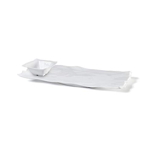 Q Squared Ruffle Square 2-piece Gift Set, Includes Large Rectangular Sandwich Platter and 5