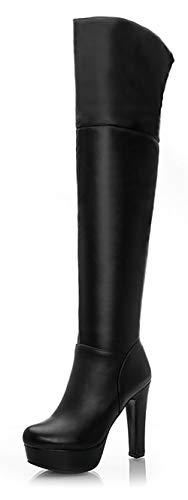 INSTAR Women's Trendy Round Toe Platform Block High Heel Over Knee High Combat Winter Boots with Side Zip