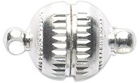 Shipwreck Beads Electroplated Metal Magnetic Barrel Clasp, 10 mm, Silver, 6-Pack ()