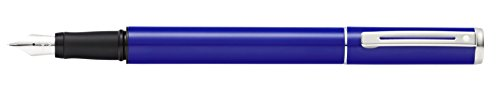 Pen Plastic Sheaffer (Sheaffer Pop Blue Fountain Pen with Chrome Trim and Medium Nib in Retail Packaging (E0920151S))