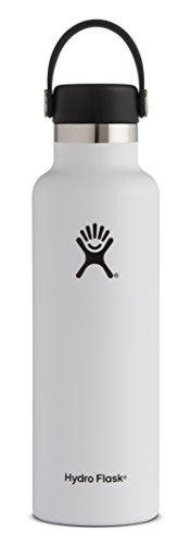 Hydro Flask 21 oz Double Wall Vacuum Insulated Stainless Steel Leak Proof Sports Water Bottle, Standard Mouth with BPA Free Flex Cap, White