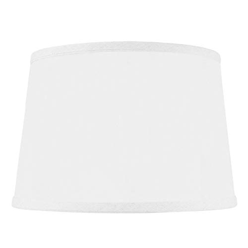 10x12x08 Hardback Shallow Drum Lampshade White Linen with Brass Spider Fitter by Home Concept - Perfect for Table and Desk Lamps - Medium, Off-White