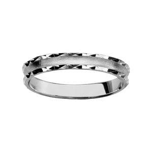 1001 Bijoux - Alliance argent rhodié 3mm satiné mat et brillant diamantée