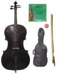 GRACE 3/4 Size Black Cello with Bag and Bow+Rosin+Extra Set of Strings