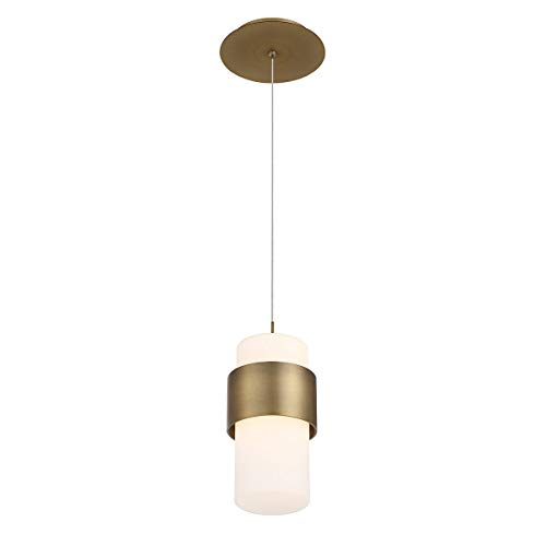 WAC Lighting PD-68909-AB DweLED Banded 9in LED Mini Pendant 3000K in Aged Brass Light Fixture,