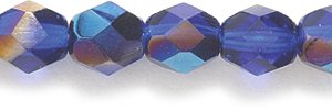 Preciosa Czech Fire 6 mm Faceted Round Polished Glass Bead, Medium Dark Sapphire Azuro Aurora Borealis, 150-Pack